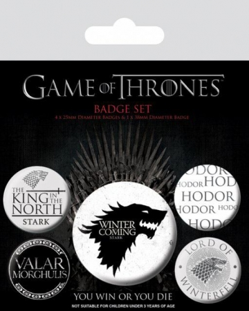 Game Of Thrones Ansteck-Buttons 5er-Pack Winter Is Coming